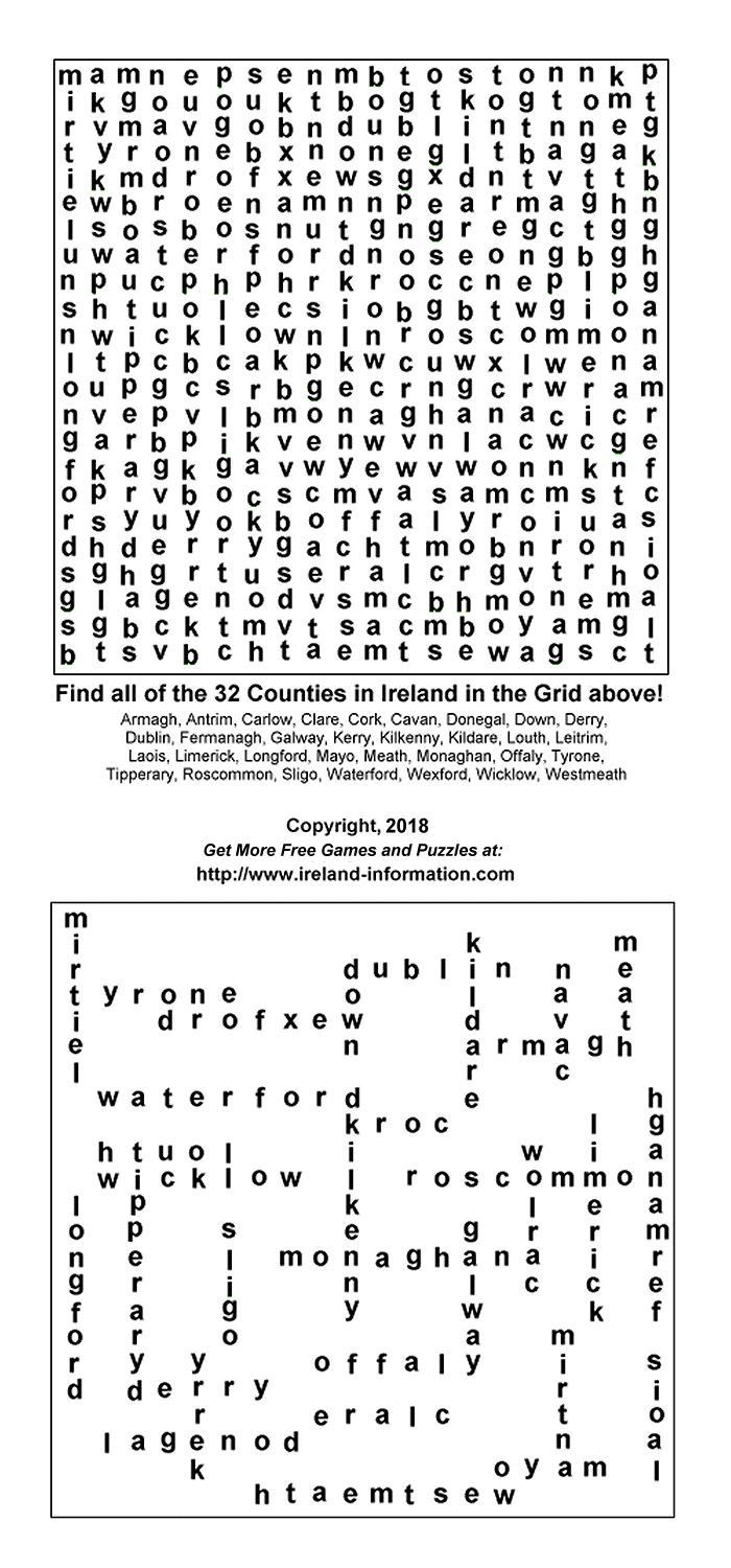 Free Games From Ireland Printable Puzzles Word Jumbles