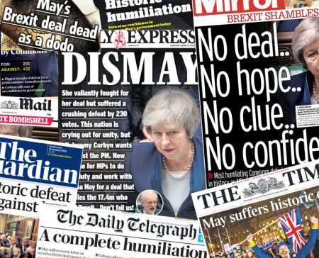 UK Newspapers react to Brexit chaos