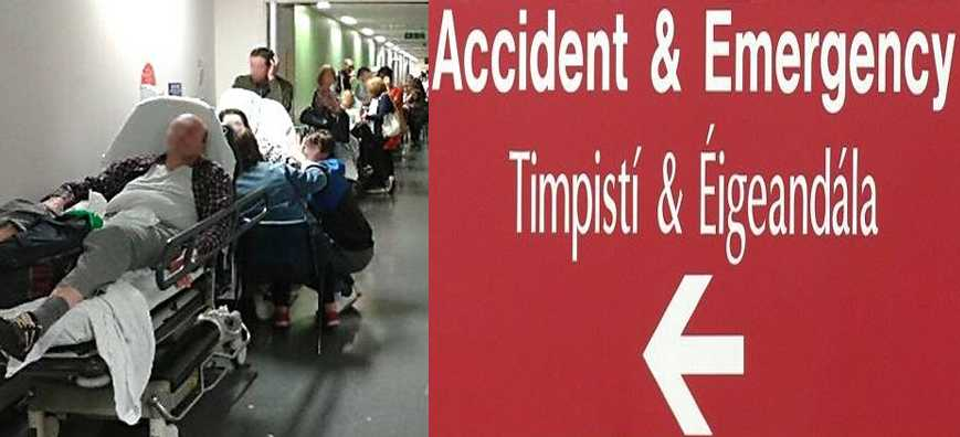 Overflow of Patients from an Irish Hospital Accident and Emergency Ward into a Corridor