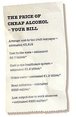 Alcohol consumption in Ireland has a huge cost