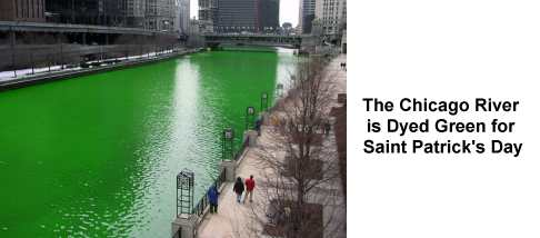 Chicago River on Saint Patrick's Day