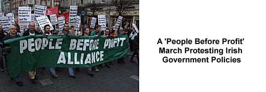 A 'People Before Profit' March Protesting Irish Government Policies