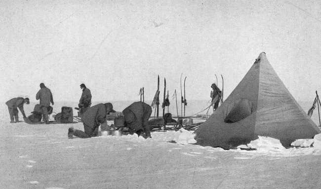 Captain Scott's South Polar Party in 1911: Scott, Wilson, Oates, Bowers, PO Evans, Lt Evans, Lashly, Crean