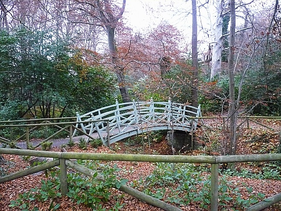 Bridge over river in park - Public Domain Photograph