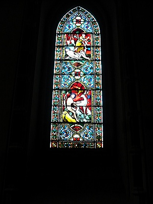 Tall stained glass window - Public Domain Photograph
